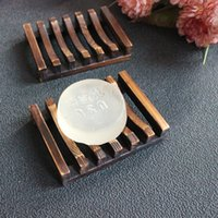Wholesale Soap Box Dish Holder Wholesale - Vintage Wooden Soap Dish Plate Tray Holder Box Case Shower Hand washing DHl Free Shipping ELSD002