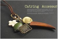 Wholesale Nest Necklace - 2017 New Korea Vintage Wood necklaces Horns Bird's Nest Flower Pendants Sweater Chain Long women collares mujer N171
