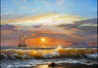 Wholesale Oil Paint Sailboat - Framed sailboat sea sun light,Genuine Handpainted Home Wall Decor Seascape Art oil Painting On Quality Canvas Multi Sizes Free Shipping S038