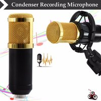 Wholesale High Quality Radio Sound - BM-800 High Quality Professional Condenser Sound Recording Microphone with Shock Mount for Radio Braodcasting Singing Black PC Computer
