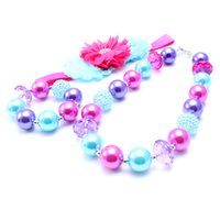MHS.SUNR Pink + Purple NecklaceBracelet Headband 3PCS Set Birthday Party Gift Toddlers Girls Bubblegum Baby Kids Chunky Necklace Jewelry