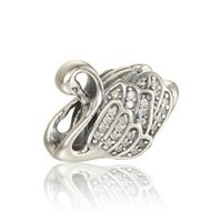 2017 Summer New Majestic Swan Encantos Com Clear CZ Pave Animal Charm 925 Sterling Silver Fine Jewelry Fit Pandora Bracelets DIY HB322