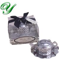 Wholesale Tea Infuser Favours - Wedding tea infuser favours gifts teapot shaped strainer saucer holder loose leaf tea filter tea lover coffee mug tumbler novelty party box