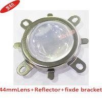 Wholesale Aluminum Led Reflector - Wholesale- Free shipping 10pcs 44mm Lens + 50mm Reflector Collimator Base Housing + Fixed bracket For 20W- 100W High Power Led 60 degrees