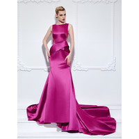 Wholesale Satin Dress Sashes - Charming Mermaid Evening Dresses Elastic Satin Covered Button Lace Sash Empire Court Train New Arrival Red Carpet Gowns Vestidos de noche