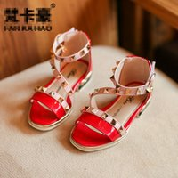 Wholesale Wholesale Korean Sandals - Girls Sandals 2017 new Korean Fashion princess Childrens Shoes rivet Wedge Sandals kids Summer high-heeled shoes Wedding Toddler Shoes A456