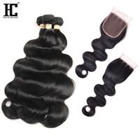 ingrosso bundle brazilliane-Brazillian Body Wave Con chiusura 4 offerte Bundle con chiusura 7A capelli vergini brasiliani con peli di capelli umani di chiusura