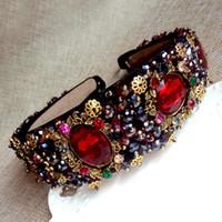 Wholesale Designer Gems - 2017 luxury brand designer women runway Headwear Baroque red gems hair bands fashion Hair Jewelry brand Accessories black- NC156
