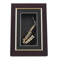 Wholesale Glass Wall Case - Pure Hand-mad Mini Gold Saxophone Model Display Case Wall Frame Adornment Best Gifts