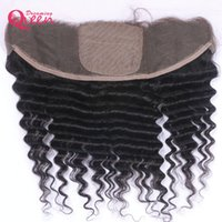 Wholesale Silk Lace Frontal Virgin - Brazilian Deep Wave Silk Base Lace Frontal Closure Virgin Human Hair With Baby Hair 13x4 Ear to Ear Lace Closure Pre-plucked Top Lace