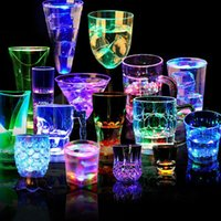 UK flash led china - Wholesale- Creative 200ml-260ml Flashing Glowing Color Change Cup LED Inductive Wine Glass Cup New Year Featival Bar Party Crystal Mug