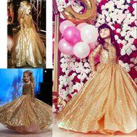 nueva línea de lentejuelas de lujo vestidos de novia al por mayor-Gorgeous Golden Sequins Pageant Dresses 2017 recién llegado brillante vestido de niña de las flores para la boda de lujo una línea de manga larga vestidos de cumpleaños