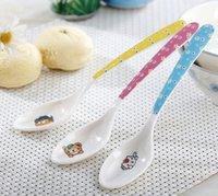 Wholesale Ceramic Baby Spoons - Wholesale- Cute Cartoon Imitation Ceramic Spoon printed Children tableware Stirring Coffee nessie dessert Baby Spoon scoop kitchen supplies