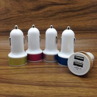 blackberry phones discount - Discount universal V A A double usb car charger colorful usb port metal ring car adapter for phones tablets