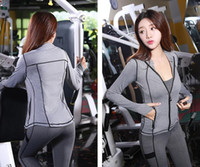 Wholesale Yoga Jacket Xl - Autumn and winter new women's sportswear suit yoga clothing Slim breathable sweat three-piece long-sleeved jacket trousers