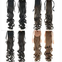 Wholesale Tie Ponytail Hairpiece - 68cm Synthetic Hair Ponytails Clip In On Hairpieces Ponytail Drawstring Wiglets Hair Extension Tie Fake Ponytail Curly For Women