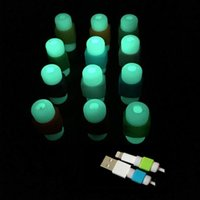 Wholesale Glowing Iphone Cable - Luminous Cable Protector Glow Data Line Cord Protector Protective Sleeves Light Glowing USB Cable Winder Cover For iPhone