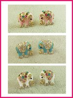 Wholesale Gold Elephant Earrings - Clearance Sale !Lovely Elephant Raibow Crystal 18Kt Real Gold-Filled Stud Ladies girls Fashion Earrings Wholesale 3colors mixed High Quality