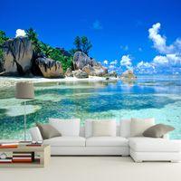 tv wanddekor großhandel-Benutzerdefinierte 3D Wandbild Tapete vlies Schlafzimmer Livig Zimmer TV Sofa Hintergrund Wand papier Ozean Meer Strand 3D Fototapete Home Decor