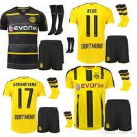 Wholesale Borussia Dortmund Shirt - Borussia Dortmund soccer jersey 2016 2017 REUS AUBAMEYANG MKHITARYAN WEIGL PULISIC 16 17 Set +sock Football Shirts Free shipping