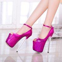 talons de poisson d'or achat en gros de-New 19 cm talons hauts talons d'or argent discothèque sexy chaussures de poisson unique pour les chaussures des femmes