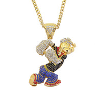 Wholesale Large Rhinestones - Bling Bling Iced Out Large Size Cartoon Movie Crystal pendant Hip hop Necklace 30inch stainless steel cuban chain N634B