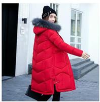 Wholesale Fur Collar Jacke - 2017 new autumn and winter coat fur collar Korean version of women in the long winter coat padded down slim students size women Winter Jacke