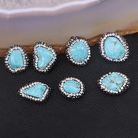 Wholesale Howlite Turquoise Gemstone Beads - 10pcs Blue Howlite Turquoise Nugget Connector Beads Gemstone Charm Spacer Connectors Pave Crystal Turquoise Stone Jewelry