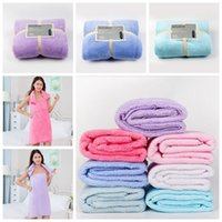 Wholesale Fleece Sheets - 75*150cm Soft Bath Towels Coral Fleece Towels Of Strong Water Imbibition Bath Sheets Absorbent Shower Towel Home Textiles CCA6537 100pcs