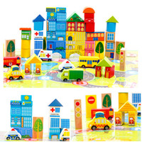 Wholesale New Safety color cartoon images city traffic scene wooden building blocks toy Children s birthday and Christmas gift with box