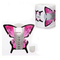 ingrosso carte a forma di farfalla-Wholesale- 300 pezzi Cura della carta per unghie Strumento di alta qualità Carta a forma di farfalla più spessa Cura Forniture per unghie Unghie