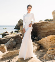 Wholesale Long Sleeved Mermaid Wedding Dresses - simple long sleeved backless sheath beach wedding dresses 2017 eva lendal bridal bateau neckline sweep train bridal wedding gowns
