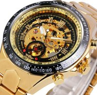 Wholesale Automatic Mechanical Skeleton - 2017 WINNER Men Gold Watches Automatic Mechanical Watch Male Skeleton Wristwatch Stainless Steel Band Luxury Brand Sports Design