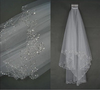 Wholesale Two Color Rhinestone - Wedding Veils Wedding Bridal Veil 2-Layer Handmade Beaded Crescent edge Bridal Accessories Veil White and Ivory color in stock