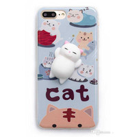 Wholesale Plastic Toy Apples - For iphone 7 7plus Soft Squishy Silicone Cat Toys Cartoon Cute Pattern Back Cover Phone TPU Cases For iphone 6S 6plus
