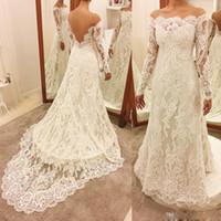 Wholesale Unique For Sale - Modest Mermaid Wedding Dresses Long Sleeves Bateau Wedding Dresses with Lace Appliques Illusion Back Unique Wedding Gowns For Sale