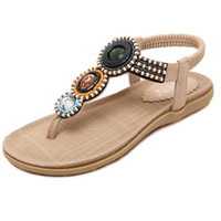 Wholesale Beaded Flat Sandal - 2017 summer new fashion women's sandals Bohemia beaded soft beach sandals casual large size flat-bottomed driving sandals 35-42