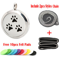 Wholesale Dog Magnets - Magnet dog paw 30mm Aromatherapy Essential Oil surgical Stainless Steel Perfume Diffuser Pendant Locket Necklace with chain and felt pads