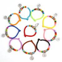 Wholesale Ethnic Braided Bracelet - 2017 New Fashion Colorful Ethnic Cotton Ropes Twist Metal 18mm Snap Buttons Bracelets Braid DIY National Jewelry Charm Bracelets