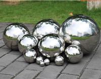 küre çelik bilyalar toptan satış-38mm-76mm AISI 304 Paslanmaz Çelik Hollow Topu Ayna Cilalı Parlak Küre Dekorasyon Çeşitleri Için toplar Yüzen Açık Kapalı Süs