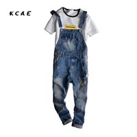 Wholesale Men Jeans Work - Wholesale- Mens Overalls Fashion Denim Overalls For Men Blue Male Pant Work Jeans 2017 New Spring Holes Style Plus Size High Quality