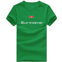 Wholesale Clothing Free Time - Suriname T shirt Professional sport short sleeve Free time cheer tees Nation flag clothing Unisex cotton Tshirt