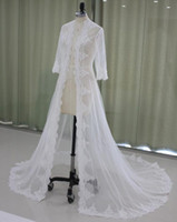 2017 Lace Bridal Giacche Maniche lunghe Cappotto da sposa Sweep Train Wedding Capes Involucri Bolero Jacket Wedding Dress Wraps Shrugs EN9145