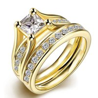 Wholesale Precision Planting - Hot 316L Swiss precision steel Golden CZ Diamond Engagement Ring fashion jewelry for women size 6 # 7 # 8 # 9 # Top Quality