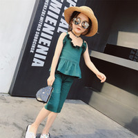 Wholesale Korea Girl Cute Children - New Collection Baby Girls Summer Outfits Halter Tees Tops and Pants 2pcs SetsCute Korea Style Fashion Children Clothing