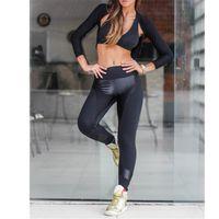 Wholesale Slash Leggings - 2017 Europe and America selling women's leather stitching explosion Yoga Pants Leggings free shipping