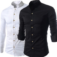 Wholesale High Stand Collar Dress Shirt - Solid Stand Collar Man Shirts Long Sleeve Single Breasted Leisure Dress Shirts Men Clothing Spring Fall Tops Business Shirt High Quality