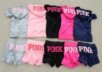 Wholesale Hoodies Woman Velour - Women survetement pink letter print jogging suits women hooded zipper velour sport tracksuits vs love pink hoodies+short pants 2 piece sets