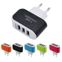 Wholesale Charger Multiple Usb Ports - US EU Plug Travel Wall Charger USB Universal Blue LED 5V 3.1A Power Adaptor with 3 Port Multiple triple USB Ports For Mobile Phone