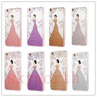 Wholesale Iphone Case Pretty Pink - For iPhone 7 Plus 5 6 6S Plus Pretty Angel Girl Wedding Dress Soft TPU Gel phone Case Cover Bling Glitter Electroplating